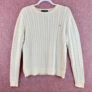 Ralph Lauren White Crew Neck Cable Knit Sweater M